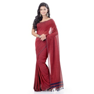 WoodenTant Daily Wear Handloom Pure Cotton Saree with Blouse Piece in Red