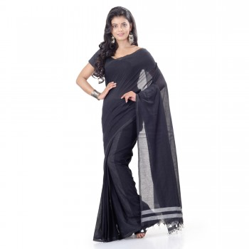 WoodenTant Daily Wear Handloom Pure Cotton Saree with Blouse Piece in Black