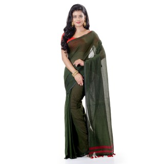 WoodenTant Daily Wear Handloom Pure Cotton Saree with Blouse Piece in Dark Green
