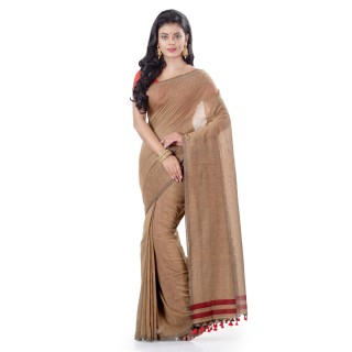 WoodenTant Daily Wear Handloom Pure Cotton Saree with Blouse Piece in Brown
