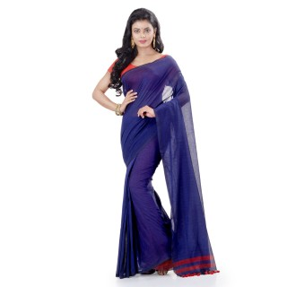 WoodenTant Daily Wear Handloom Pure Cotton Saree with Blouse Piece in Blue
