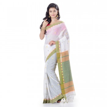 WoodenTant Women Wear Pure Cotton Handloom Saree In White & Green