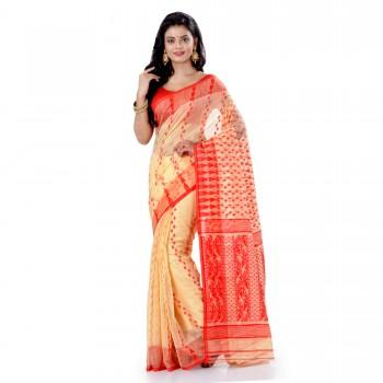 WoodenTant Women's Cotton Silk Soft Dhakai Jamdani Handloom Saree In White With Temple Border