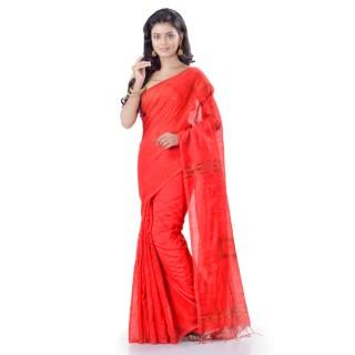 WoodenTant Cotton Silk Zari Box Handloom Saree In Red With Sequin Work