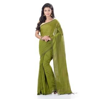 WoodenTant Cotton Silk Zari Box Handloom Saree In Green With Sequin Work