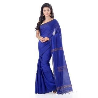WoodenTant Cotton Silk Zari Box Handloom Saree In Blue With Sequin Work