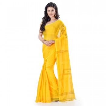 WoodenTant Cotton Silk Zari Box Handloom Saree In Yellow With Sequin Work