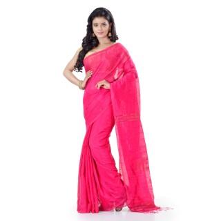 WoodenTant Cotton Silk Zari Box Handloom Saree In Pink With Sequin Work