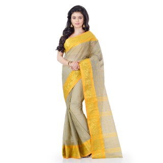 WoodenTant Women's Pure Cotton Tant Saree In Beige with Yellow Border