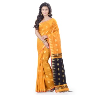 WoodenTant Cotton Silk Handloom Zari Thread Work Saree In Yellow With Temple Border.