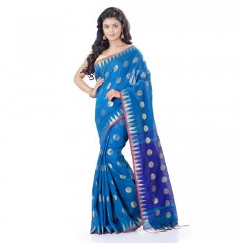 WoodenTant Cotton Silk Handloom Zari Thread Work Saree In Light Blue With Temple Border.