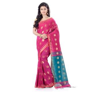 WoodenTant Cotton Silk Handloom Zari Thread Work Saree In Pink With Temple Border.