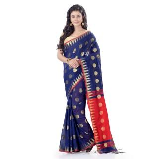 WoodenTant Cotton Silk Handloom Zari Thread Work Saree In Blue With Temple Border.