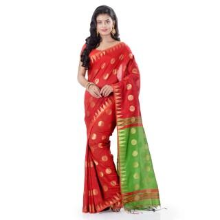 WoodenTant Cotton Silk Handloom Zari Thread Work Saree In Red With Temple Border.