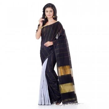 WoodenTant Handloom Cotton Silk Zari Saree In Black & White