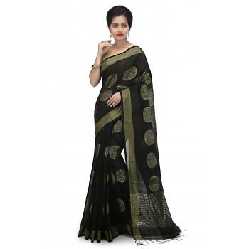 WoodenTant women's handloom art silk saree In Black with Zari thread work