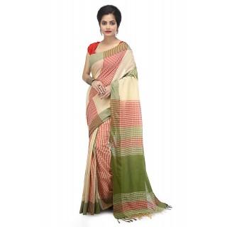 WoodenTant women's Handloom pure Cotton Khadi Saree Beige with Multicolor Checkered Design