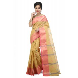 WoodenTant Women's pure cotton Tant saree in Beige with starch and buti wrok without blouse piece