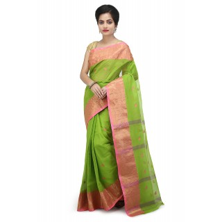 WoodenTant Women's pure cotton Tant saree in Green with starch and buti work without blouse piece