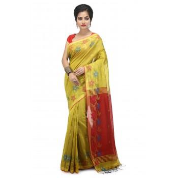 Woodentant women's handloom cotton Silk saree in Yellow with zari Flower border