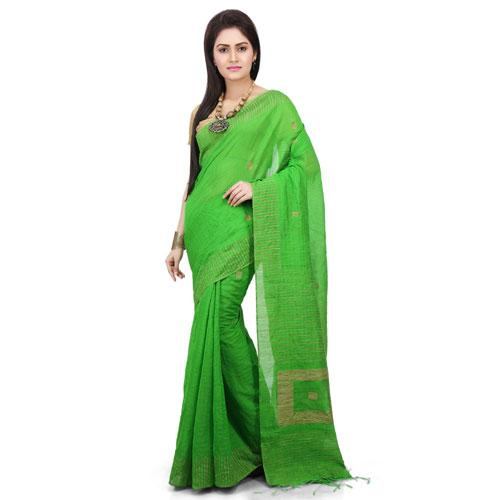 Silk Ghicha Saree in Lemon Green