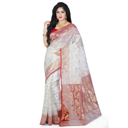 Dhakai Jamdani Handloom Saree in White