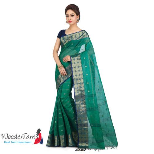 Cotton Tant Handloom Saree in Green