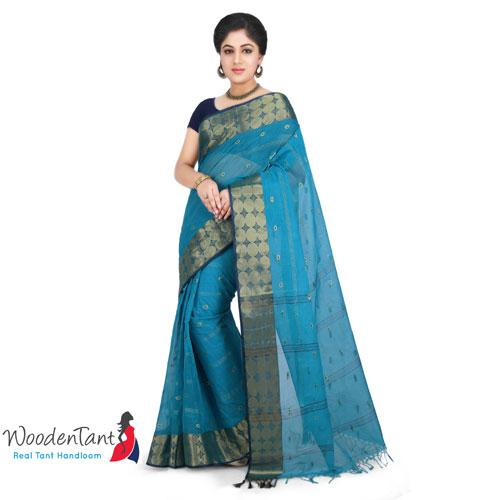 Cotton Tant Handloom Saree in Aqua Blue