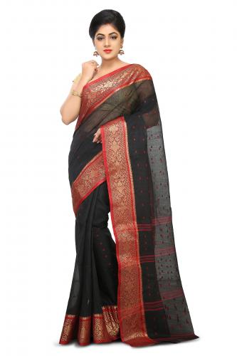 Cotton Tant Handloom Saree in Black
