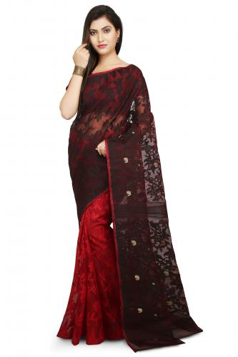 Dhakai Jamdani Handloom Saree In Black and Red.