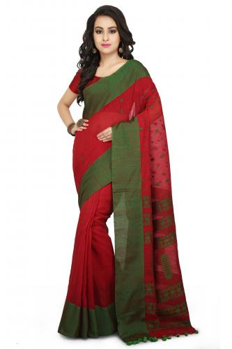 Handloom Cotton Khadi saree in Red with Green Border