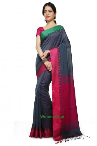 Handloom Cotton Silk Saree in Grey