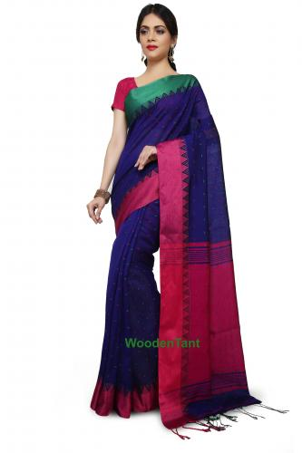 Handloom Cotton Silk Saree in Royal Blue