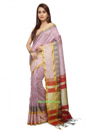 Ikkat Tie Dye Cotton Silk Saree In Red