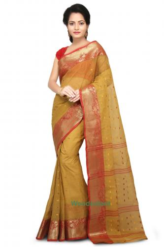 Cotton Tant Handloom Saree in Yellow