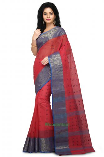 Cotton Tant Handloom Saree in Red