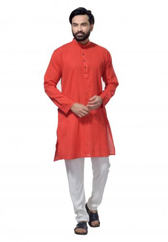 Men's Cotton Khadi Kurta Punjabi in Red