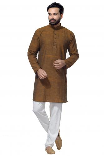 Men's Cotton Khadi Kurta Punjabi in Olive Green