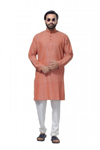 Men's Cotton Khadi Kurta Punjabi in Rust