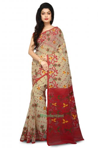 Dhakai Jamdani Handloom Saree In Beige With Multicolor Thread Work