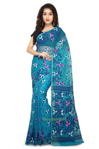 Dhakai Jamdani Handloom Saree In Sky Blue With Multicolor Thread Work