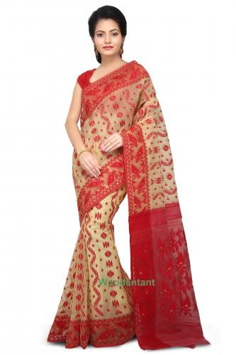 Dhakai Jamdani Handloom Saree In Beige and Red