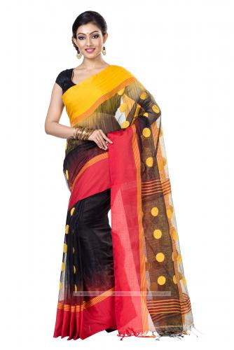 Ikkat thread work Khadi Silk Saree in Black and Yellow
