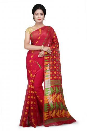 Dhakai Jamdani Handloom Saree Red and multicolor With Temple Border and Abstract Design