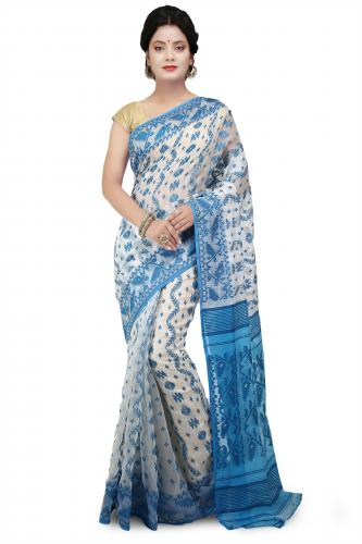 WoodenTant Multicolor Dhakai Jamdani Saree With All Over Thread Work