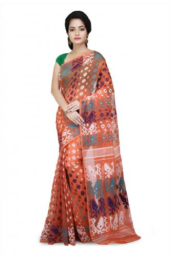 Dhakai Jamdani saree In Orange With multicolor Designer Thread Work in all over saree