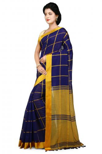 Handloom Cotton Silk Saree in blue With Yellow velvet border