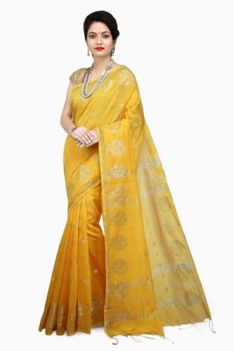 WoodenTant Women's Cotton Silk Handloom Zari Saree In Yellow with golden zari work and tree design in all over the saree