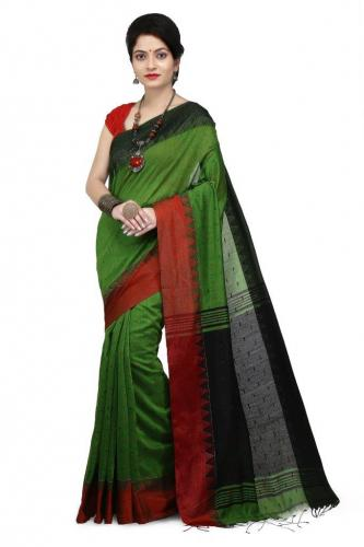 WoodenTant Women's Handloom Cotton Silk Saree In Green with Black Pallu And Buti Work