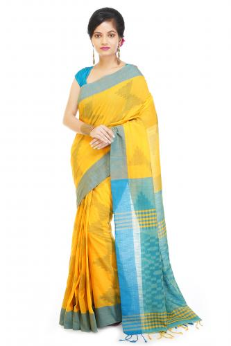 WoodenTant Women's Soft Pure Cotton Handloom Printed Saree in Multicolored